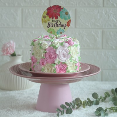 Colourful Rosette cake750gms with happy birthday floral topper