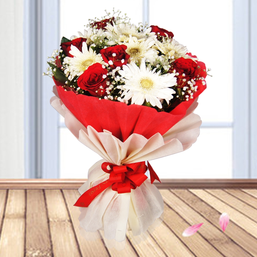 Magnificent Arrangement ( red roses and white gerbera)
