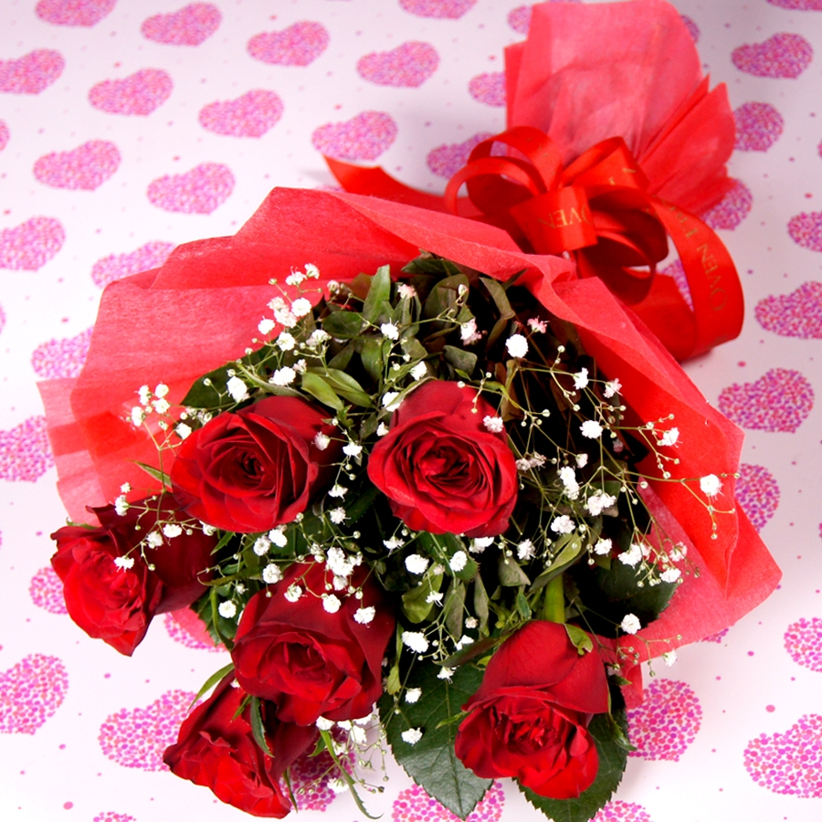 Love is Red   ( 6 red roses)