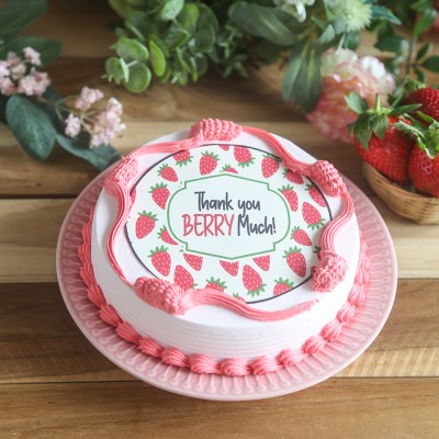 """""""Thank you berry much """" strawberry photo cake"""