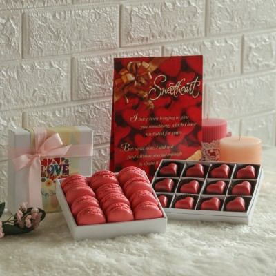 Box of 12 Rose Macarons, Box of 12 heart shape raspberry pralines & Valentines day card