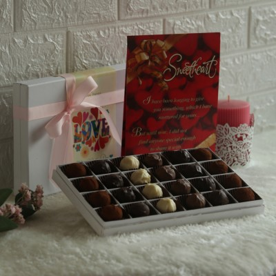 Valentine's day box of 24 truffles and Valentines Day Card