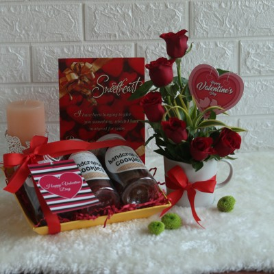 Valentine's day tray of Assorted Cookies , valentines day card  and Arrangement of Red Roses in a mug