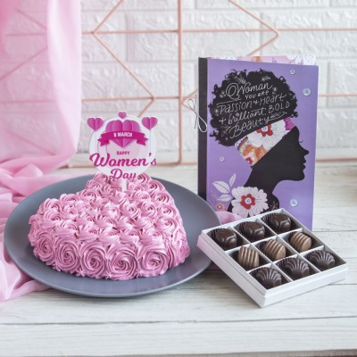 Heart Shape Pink Swirls with Women's Day Topper Box of 9 pralines and a Card