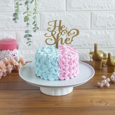 Pink and Blue Rosette Cake with a He or She Topper