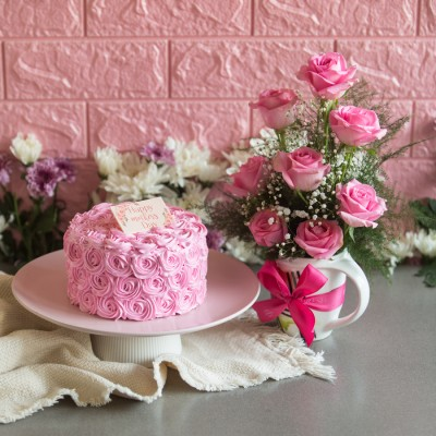 Pink Rosette cake (dutch truffle)750gms and arrangement of Pink Roses in a mug