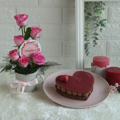 Arrangement of Pink Roses in a mug with Happy valentines day topper and Chocolate torte