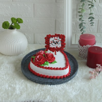 Valentine's day Red and white Heart Shape Cake 500gms with square love topper