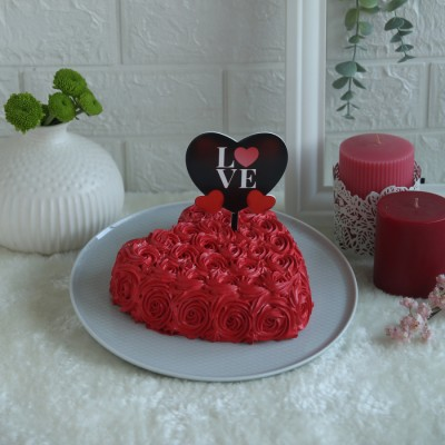 Heart Red Swirls cake with Pink Black heart love topper
