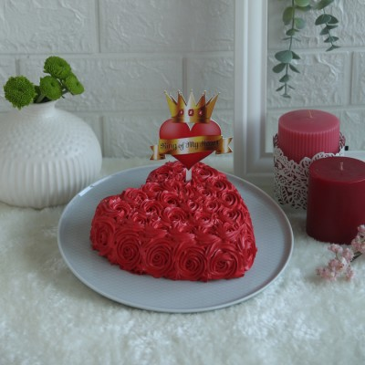 Heart Red Swirls cake with King of my heart topper
