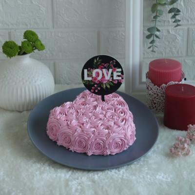 Heart Pink Swirls cake with Pink Black love topper