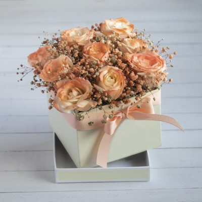 Orange Roses With Baby Breath In a Box