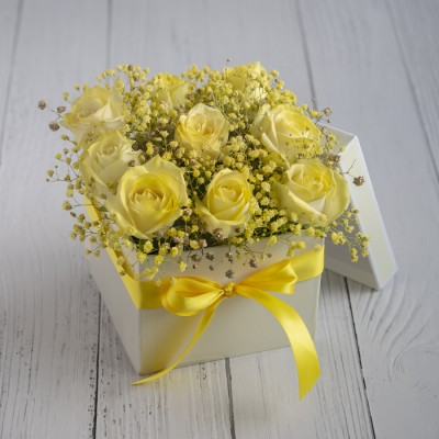 Yellow Roses In A Box