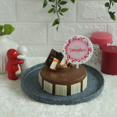 Caramel Panacotta with Hazelnut Chocolate Mousse Cake- 500gms with valentines day round topper