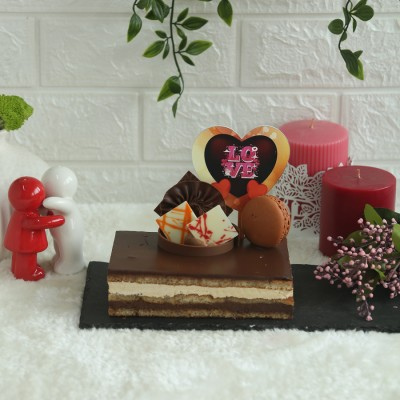 Coffee Opera 500gms(Contains Egg) with LOVE heart shape  topper