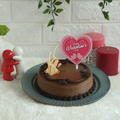 Chocolate Almond hazelnut 500gms with valentines day pink heart shape topper