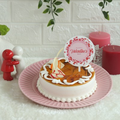 Butterscotch Cake with  Valentines Day topper