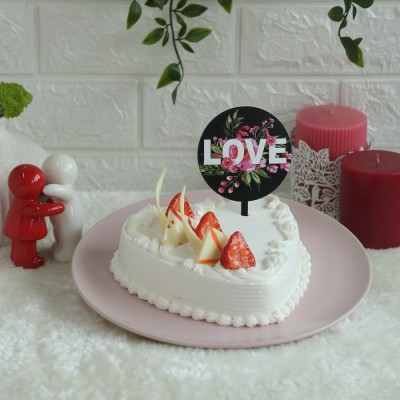 Heart Shape Strawberry French Cream Cake 500gms with Black Floral Love  Topper