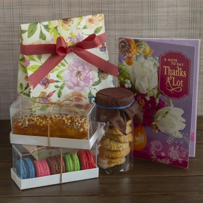 Multigrain cookies ,almond bar cake ,box of 5 Assorted Macarons  and a Thank you card [Contains Egg]