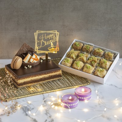 Coffee Opera With Happy Diwali Topper And Box Of 12 Assorted Baklavas