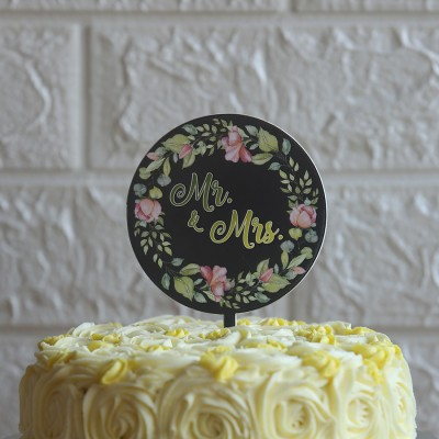 Mr & Mrs Black floral border