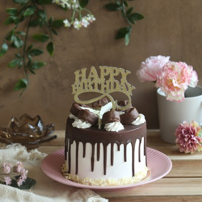 Chocolate Bounty Cake 750gms with Happy Birthday topper