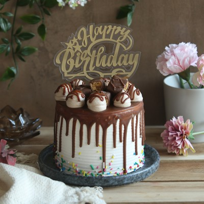 Chocolate snickers cake 750gms with Happy Birthday topper