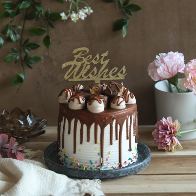 Chocolate snickers cake 750gms with best wishes topper