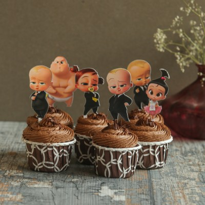 Chocolate cup cakes with boss baby toppers 6pcs