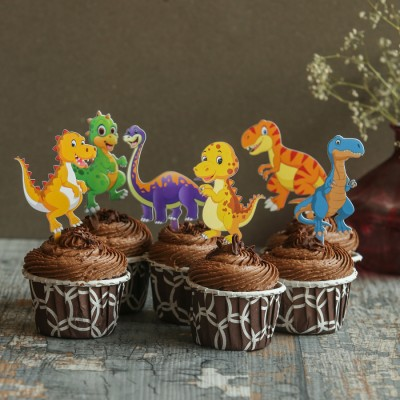 Chocolate Cup Cakes with Dinosaur toppers