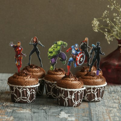 Chocolate Cup Cakes with Avenger toppers