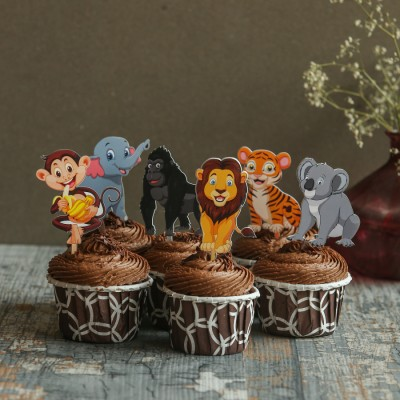 Chocolate Cupcakes with Animals Toppers