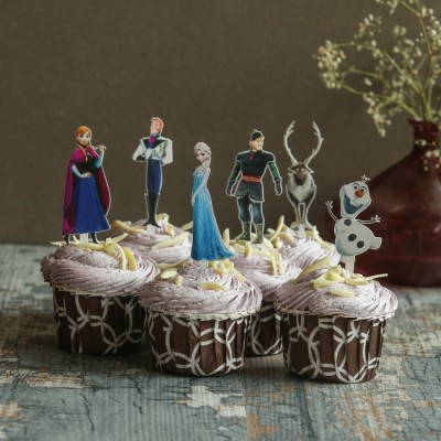 Blueberry Cupcakes with Frozen Characters toppers.