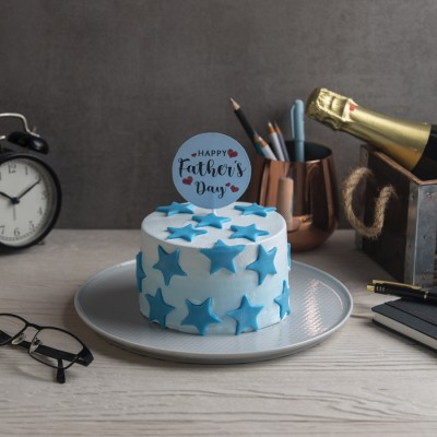Fathers Day Blue Frosting  with Stars  Cake 500gms