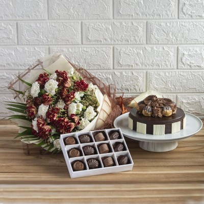 Chocolate Choux Buns Cake with Exemplary Hand Bouquet And Box Of 12 Chocolates Pralines