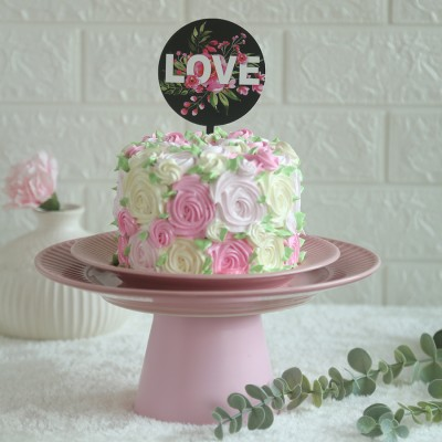 Colourful Rosette cake750gms with love topper in black