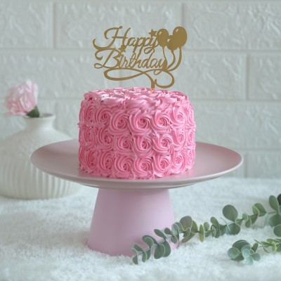 Pink Rosette cake 750gmswith happy birthday balloon topper