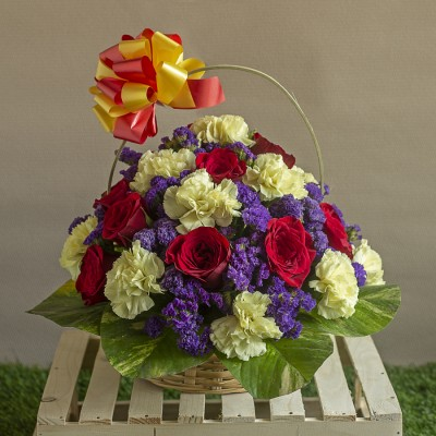 Basket of  Red roses ,Carnations and Limoniums