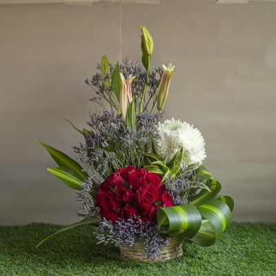 Arrangement of  Red Roses , White Chrysanthemums, Lilies and Lavenders in a Basket