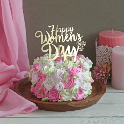 Colourful  Rosette cake 750gms with Happy Womens Day Topper