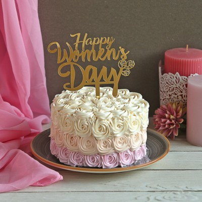 Purple shaded Rosette cake 750gms with Happy Womens Day Topper