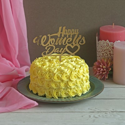 Yellow Rosette cake 750gms with Happy Womens Day Topper