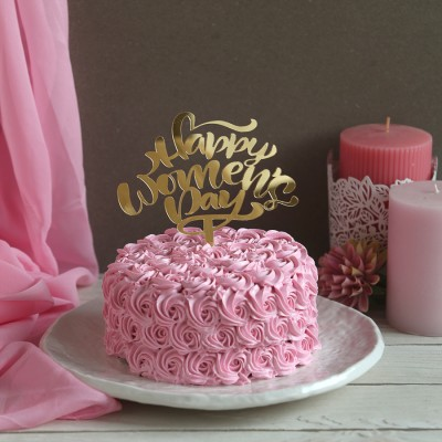 Pink Rosette cake 750gms with Happy Womens Day Topper