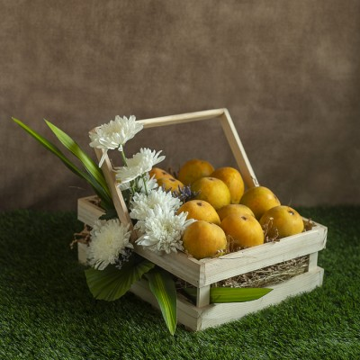 Wooden Basket of 12pcs of Mangoes and White Chrysanthemums