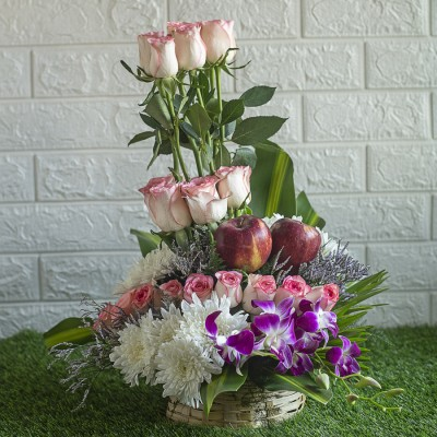 Jumelias ,White Chrysanthemums, Orchids and Apples