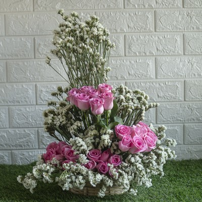 Pink Roses and White Statis in a Basket