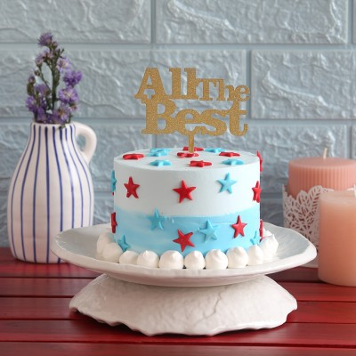 Red and blue stars cake(750gms) with All The Best topper
