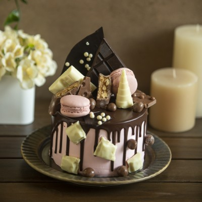 Blissful  Overloaded  Cake with Dark chocolate , white chocolate and macarons 750g ( Eggless)