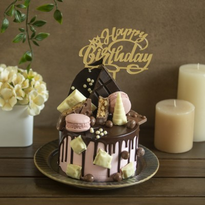 Blissful  Overloaded  Cake with Dark chocolate , white chocolate and macarons 750g (eggless) with Happy Birthday Toppers