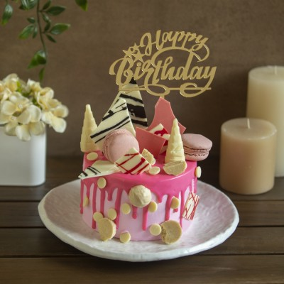 Pink Blush Macaron & White Chocolate Overloaded cake 900g with Happy Birthday topper